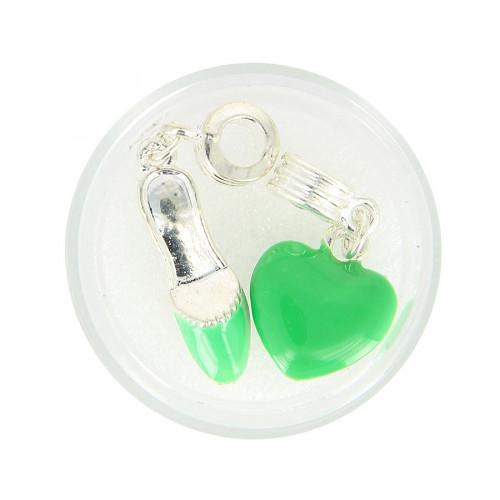 Boîte de 2 perles pendentif - Vert - 40 x 15 mm