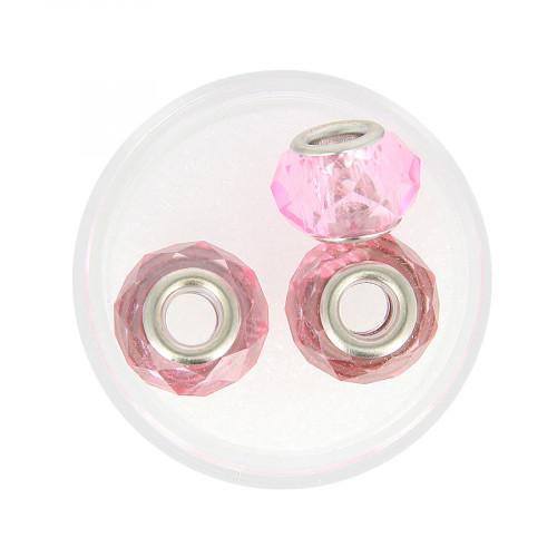 Boîte de 3 perles à gros trou - Rose transparent - Ø 15 mm