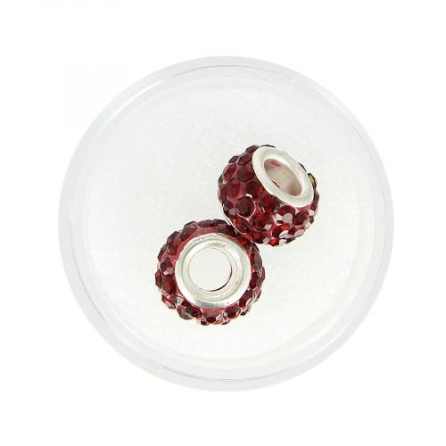 Boîte de 2 perles à gros trou - Rouge à strass - Ø 12 mm