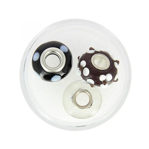 Boîte de 3 perles à gros trou - Marron à motifs - Ø 15 mm