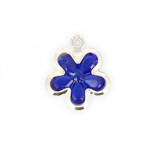 Breloque fleur résine - Transparent contour argenté - 10 x 10 mm
