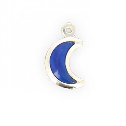 Breloque lune résine - Transparent contour argenté - 15 x 10 mm