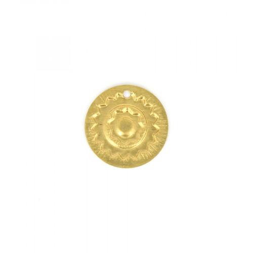 Breloque pastille ronde motif soleil en métal - Laiton - 23 x 23 mm