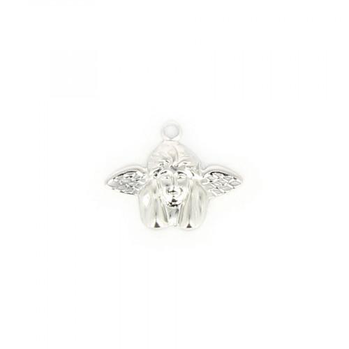 Breloque fin ange accoudé métal - Argent brillant - 17,5 x 17,5 mm