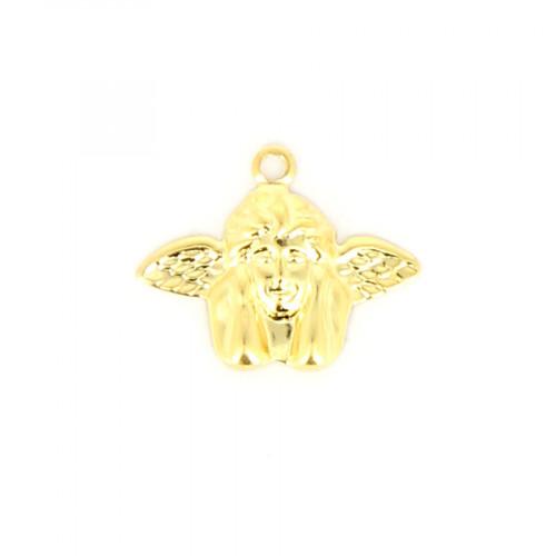Breloque ange accoudé métal - Or brillant - 14 x 17,5 mm