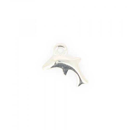 Breloque dauphin résine - Argent brillant - 12 x 14,6 mm
