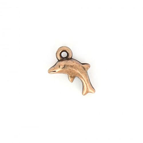 Breloque dauphin résine - Cuivre vieilli - 12 x 14,6 mm