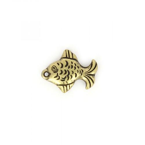 Breloque poisson aplati en résine - Laiton - 10 mm