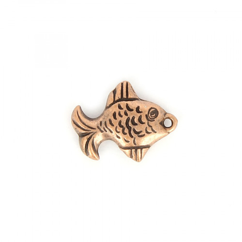 Breloque poisson aplati en résine - Cuivre - 18,7 x 24 mm