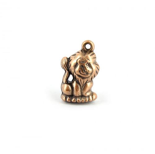 Breloque lion avec anneau en métal - Cuivre - 23 x 13 mm