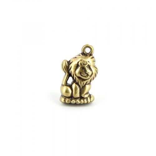Breloque lion avec anneau en métal - Or vieilli - 23 x 13 mm