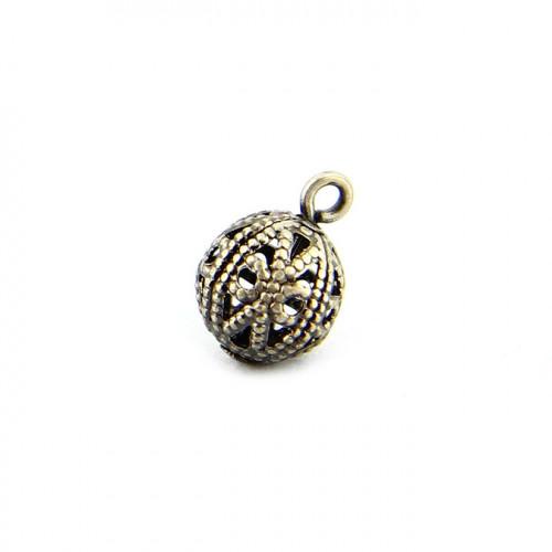 Breloque perle filigranée avec anneau en métal - Argent vieilli - 8 mm