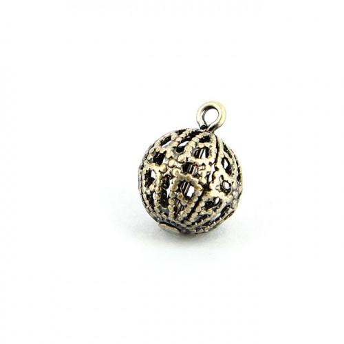 Breloque filigranée avec anneau en métal - Argent vieilli - 10 mm