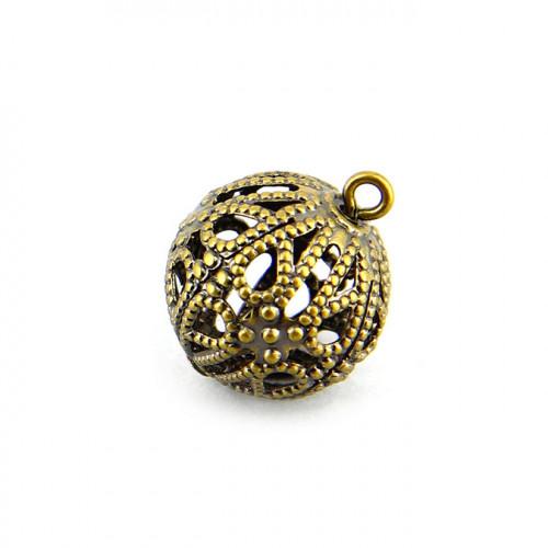 Breloque filigranée avec anneau en métal - Laiton - 13 mm