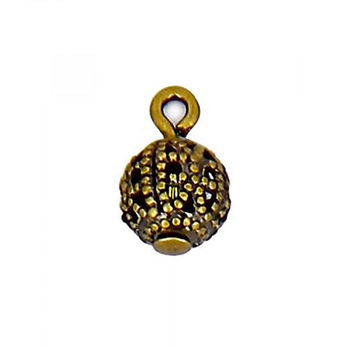 Breloque filigranée avec anneau en métal - Laiton - 6 mm