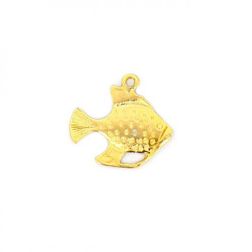 Breloque poisson avec anneau en métal - Or - 23 x 26 mm