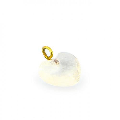 Breloque anneau cœur en verre - Transparent et laiton - 11 x 11 mm