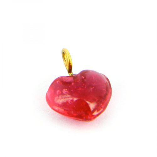 Breloque anneau cœur en verre - Transparent et rose - 11 x 11 mm