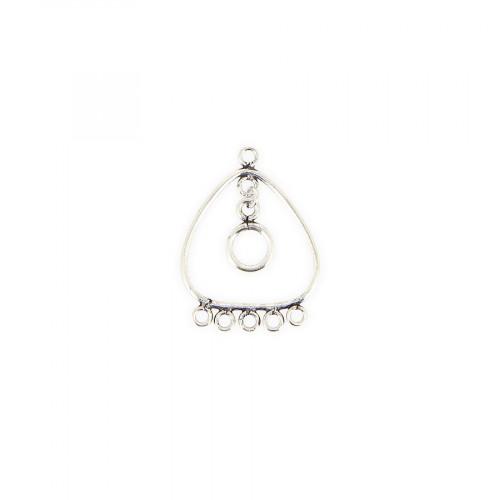 Breloque coeur 6 anneaux avec pendant en métal - Argent - 28 x 30 mm