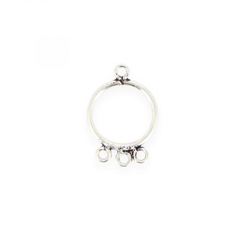 Breloque ronde 4 anneaux en métal - Argent - 17 x 25 mm