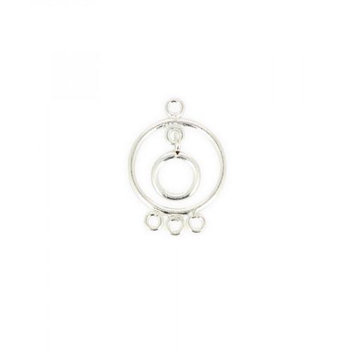 Breloque ronde 4 anneaux avec pendant en métal - Argent - 20 x 27 mm