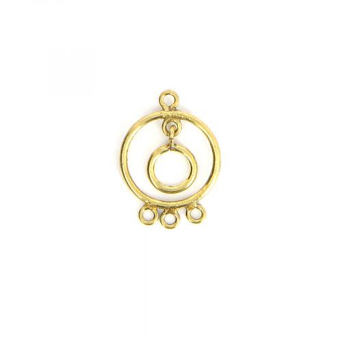 Breloque ronde 4 anneaux avec pendant en métal - Laiton vieilli - 20 x 27 mm