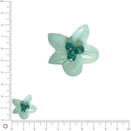 Bolero - Fleur en coquille avec perles facettées 22 mm - Turquoise d'Inde
