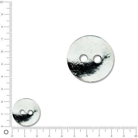 Breloque bouton 2 trous Ø 23 mm - Argenté