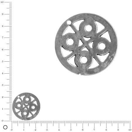 Pendentif médaillon lignes et ronds Ø 23 mm - Argenté vieilli