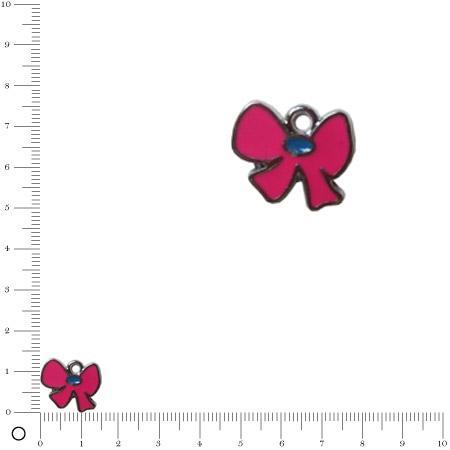 Breloque nœud émaillé fuchsia - L. 13 mm