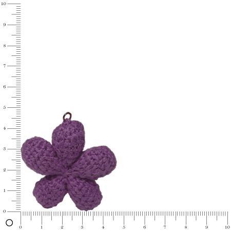 Pendentif au crochet Ø 45 mm - Fleur violet