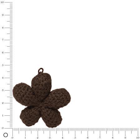 Pendentif au crochet Ø 45 mm - Fleur chocolat