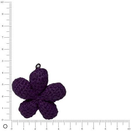 Pendentif au crochet Ø 45 mm - Fleur violet foncé