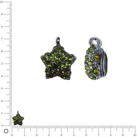 Breloque étoile bombée strassée L. 10 mm - Black nickel/Vert pomme