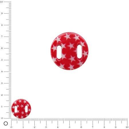 Médaille en nacre - Etoiles blanches sur fond rouge - Ø 17 mm