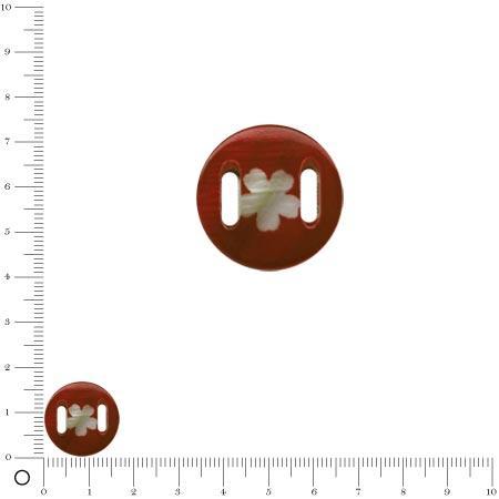 Médaille en nacre - Fleur blanche sur fond marron - Ø 17 mm