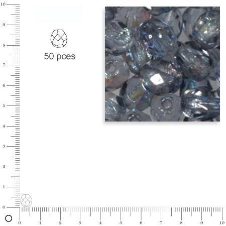 Facettes dépolies - Bleu gris - 6 mm x 50 pces