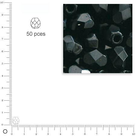 Facettes dépolies - Noir - 6 mm x 50 pces