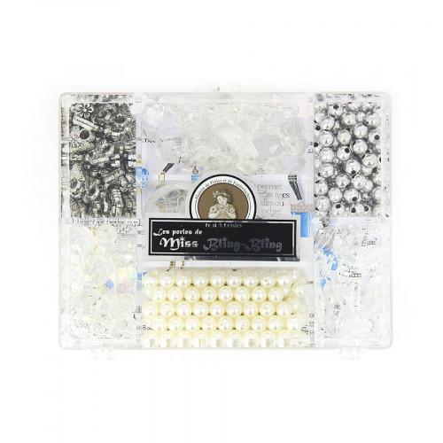 Boîte 7 cases assortiment de perles - Tansparent métal et blanc nacré - Taille aléatoire de 5 à 10 mm