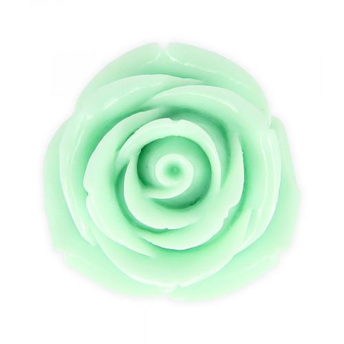 Perle fleur rose en résine - Vert pâle - Ø 45 mm