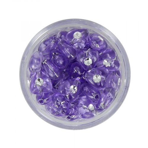 Boîte de perles en résine à strass - Violet lavande - Ø 8 mm