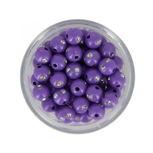 Boîte de perles en résine à strass - Violet lavande - Ø 6 mm