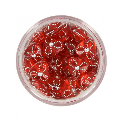 Boîte de perles en résine à strass - Rouge - Ø 9 mm