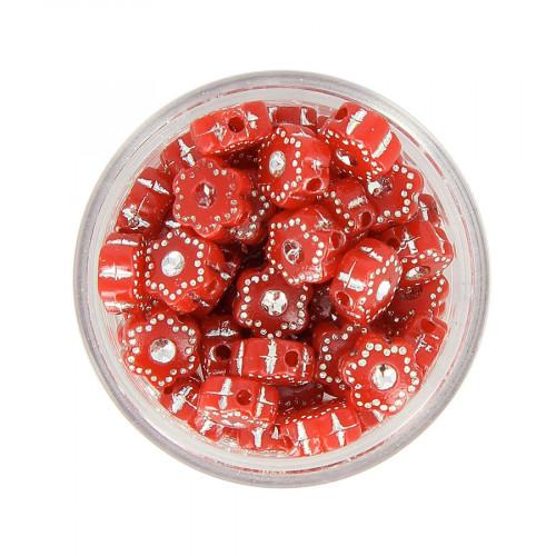 Boîte de perles en résine à strass - Rouge - Ø 8 mm