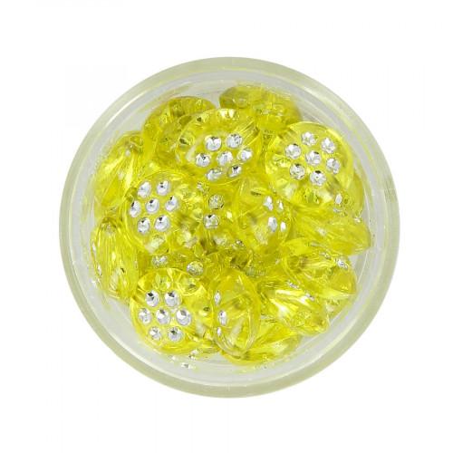 Boîte de perles en résine à strass - Jaune - Ø 10 mm