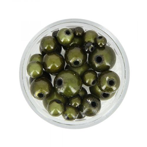 Mélange de perles Magic - Vert kaki - Taille aléatoire Ø de 4 à 10 mm