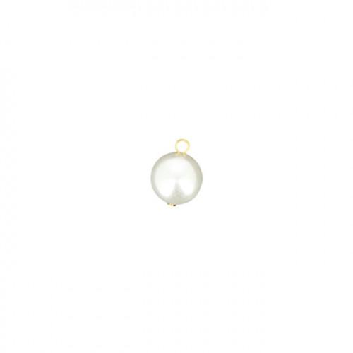 Perle ronde nacrée avec tige et anneau en résine - Blanc et or - 18 mm
