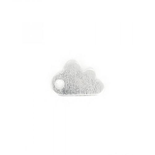 Estampe nuage en métal - Argent brillant - 12 x 8 mm