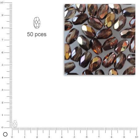 Olives facettées dépolies - Praliné - 6 x 4 mm x 50 pces