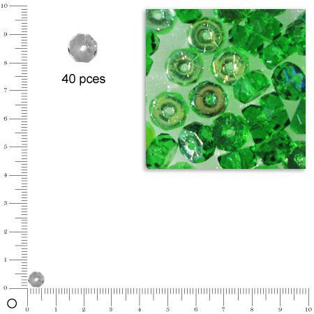Rondelles facettées dépolies - Emeraude - 6 x 3 mm x 40 pces